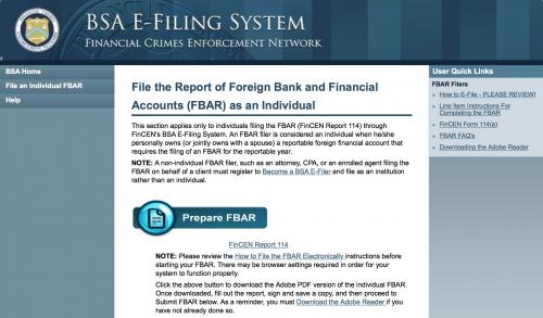 FinCEN's FBAR e-filing system